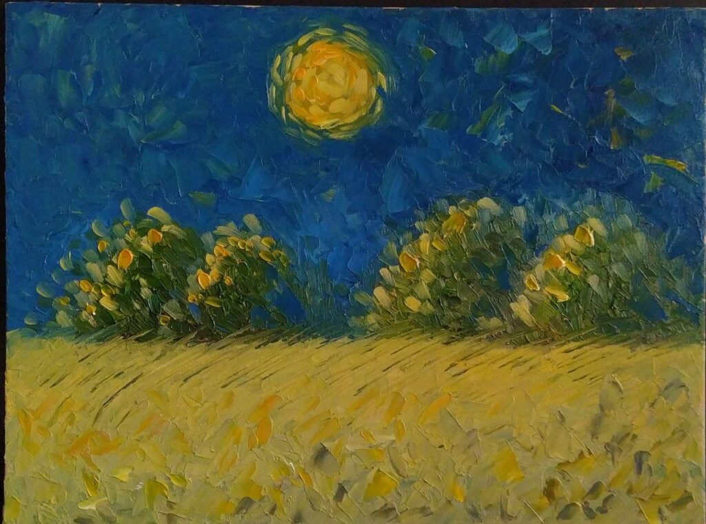 Лунная ночь в поле ржи. Картина, холст, масло, 30х40 см, 2020 г. - Художник Мария Текун