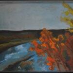 Над озером. Картина, двп, темпера, 40х50 см, деревянный багет,, 2020 г. - Художник Мария Текун