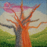 картина Оранжевое дерево. Шерсть, мулине, 20х20 см