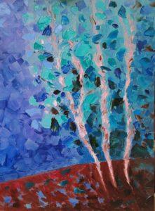 Утро в лесу после дождя. Картина, холст, масло, 30х40 см, 2020 г. - Художник Мария Текун