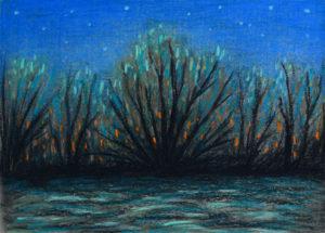 картина Последние лучи солнца. Картон, сухая пастель, 30х40 см художник Мария Текун