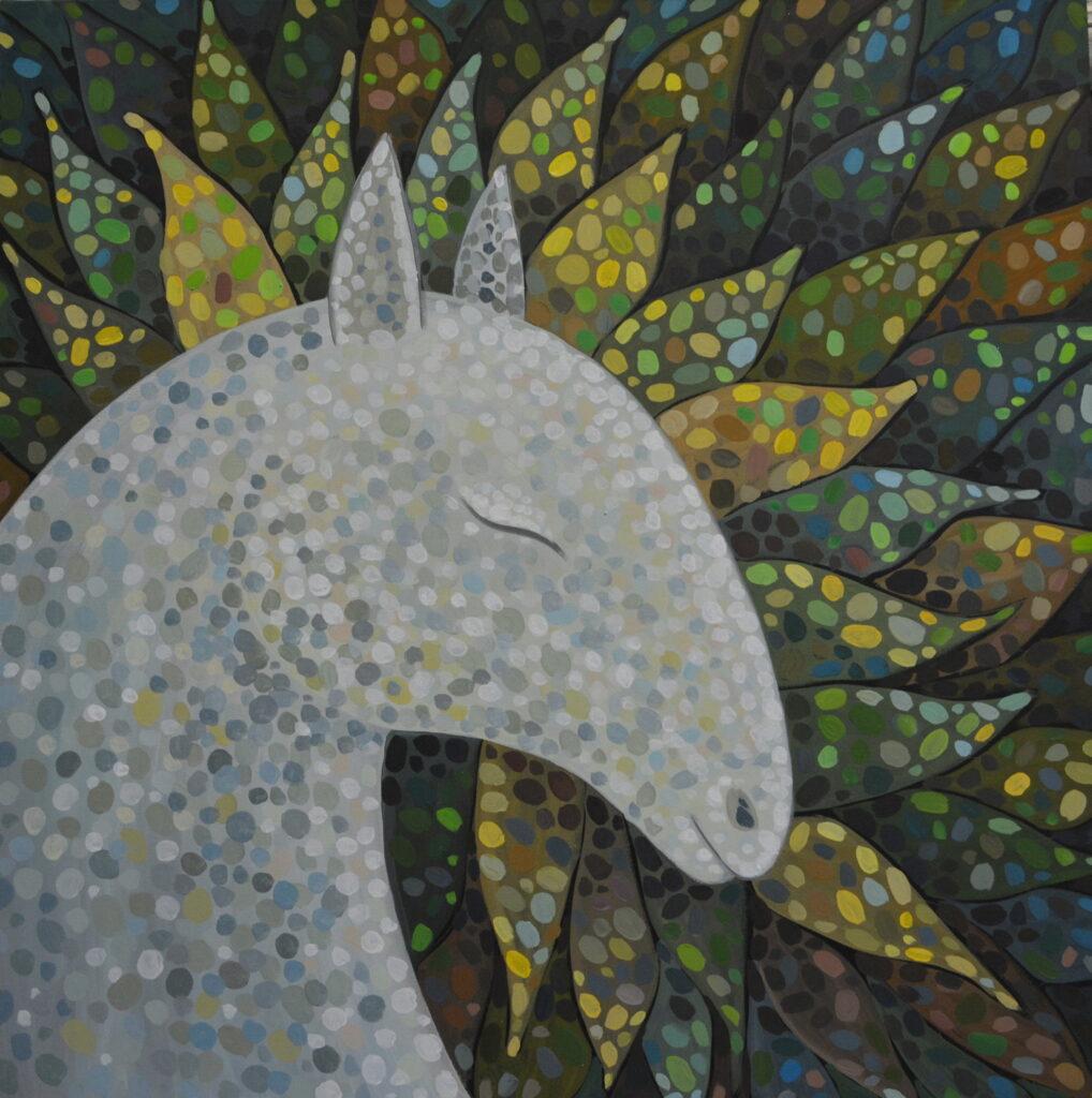 Сон жизни 2 картина холст, темпера, 80х80 см картина темперой на холсте, картина художника, живопись темперой, уникальная необычная картина художник Мария Текун maryatekun.ru