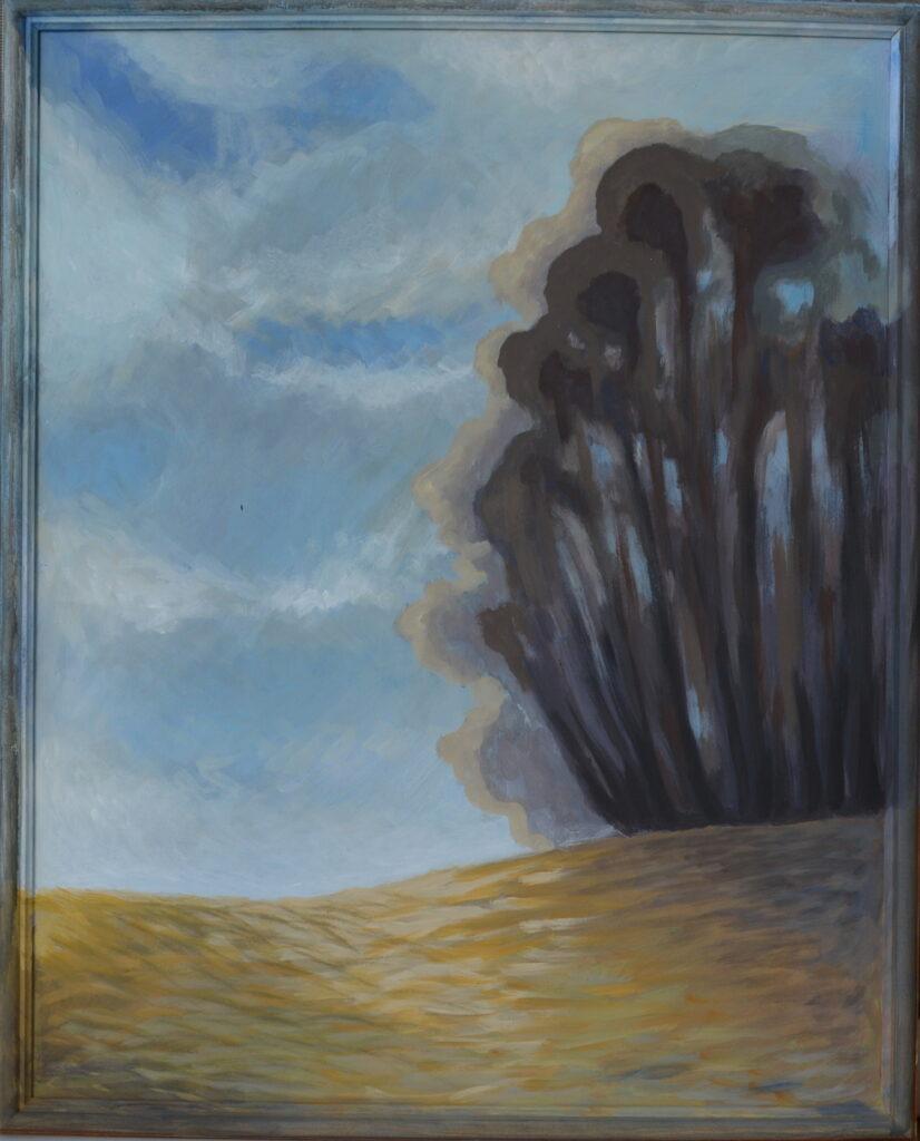 Край леса картина, двп, темпера, 40х50 см, багет, 2020 г.  картина художника, живопись темперой, уникальная необычная картина пейзаж, дерево, художник Мария Текун maryatekun.ru