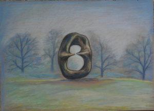 картина Странный Генри Мур в осеннем парке, картон, сухая пастель, 30х40 см
