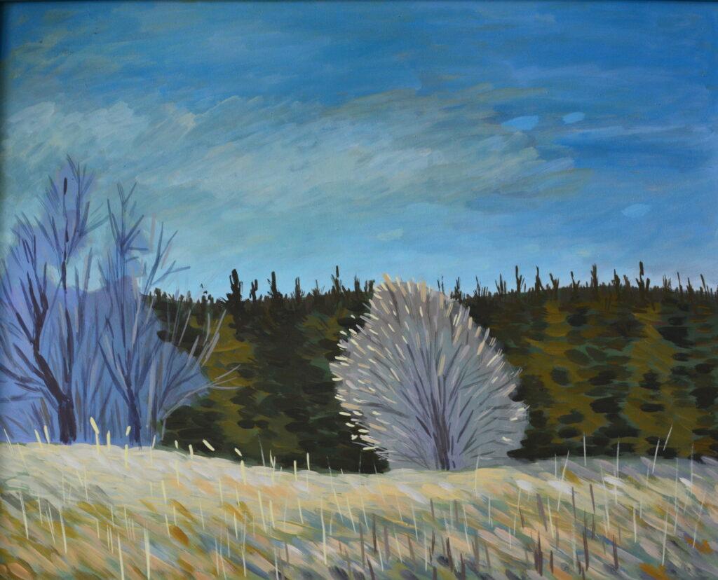 Цветущий куст картина темперой, картина художника, живопись темперой, уникальная необычная картина, пейзаж, картина природы,  художник Мария Текун maryatekun.ru