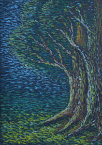картина Темный лес, картон, масляная пастель, 30х40 см