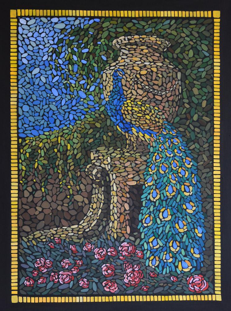 картина В старом саду, холст, темпера, 60х80 см