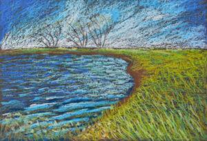 картина Ветер на озере, картон, масляная пастель, 30х40 см
