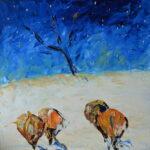 Зима в космосе. Картина, холст, масло, 50х50 см