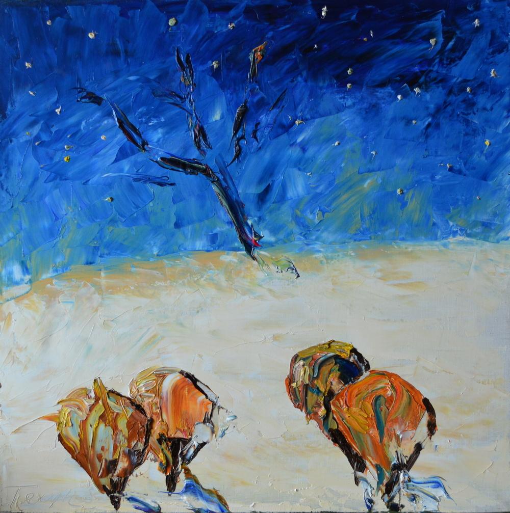 Зима в космосе картина, холст, масло, 50х50 см, живопись маслом, картина маслом на холсте, художник Мария Текун maryatekun.ru