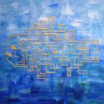 Золотая рыба Вася. Картина, холст, акрил, смешанная техника, 30х40 см - Художник Мария Текун