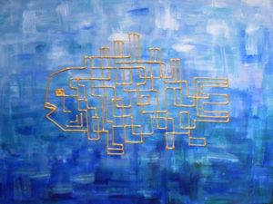 картина Золотая рыба Вася. Холст, акрил, смешанная техника, 30х40 см