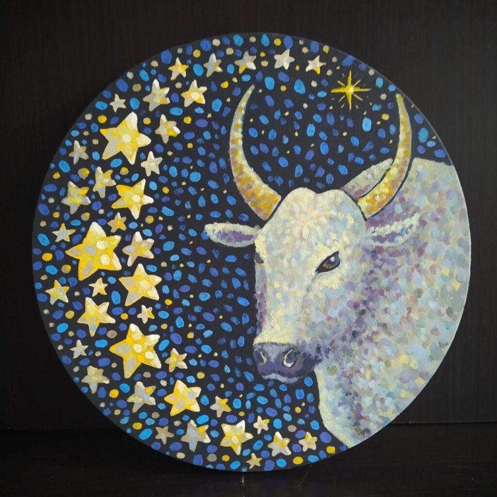 Звездный бык Сириус.Картина, холст на подрамнике, темпера, диаметр 30 см, 2020 г. - Художник Мария Текун