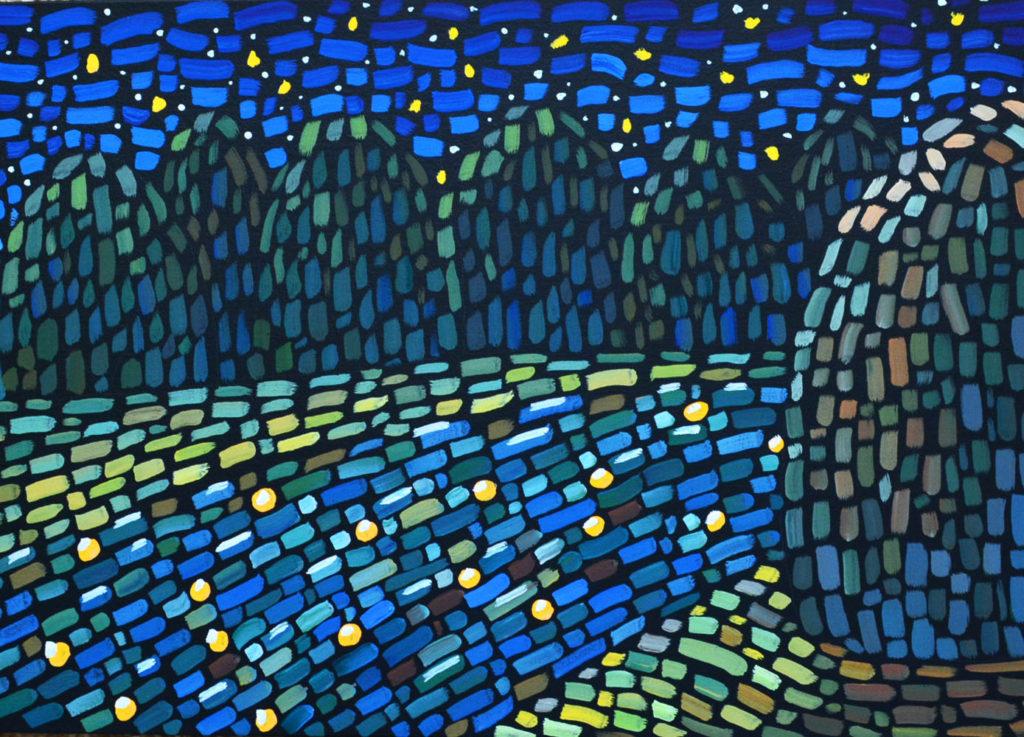 Звезды в реке картина холст, темпера, 35х50 см,картина темперой на холсте, картина художника, живопись темперой, уникальная необычная картина художник Мария Текун maryatekun.ru