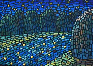 картина Звезды в реке. Холст, темпера, 35х50 см, художник Мария Текун