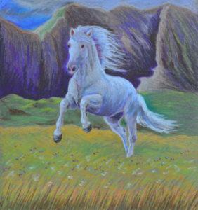 картина Белый конь, картон, сухая пастель, 30х40 см