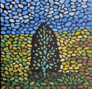 Дерево Аполлона Майкова. Картина, холст, темпера, 30х30 см, 2016 г. - Художник Мария Текун
