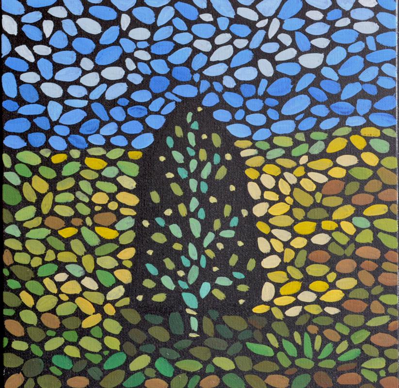 Дерево Аполлона Майкова картина темперой на холсте, картина художника, живопись темперой, уникальная необычная картина художник Мария Текун maryatekun.ru
