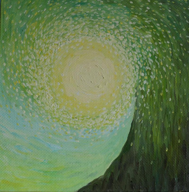 Световорот картина художника, декоративная картина для интерьера, картина фантазия, абстракция, сюрреалистическая картина света, зеленый свет картина, необычная картина художник Мария Текун maryatekun.ru