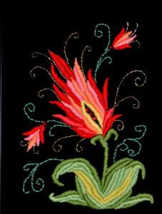 картина Красный цветок. Бархат, вышивка, бисер, 30х40 см