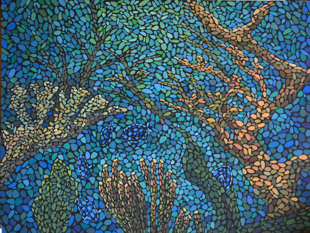 картина Море внутри холст на картоне, темпера, 60х80 см, художник Мария Текун maryatekun.ru Море, кораллы, синий цвет, зеленый цвет, картина моря, морская вода, рыбки, морское дно, море внутри