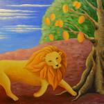 картина Мудрый Лев, холст, масло, 50х60 см