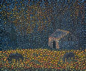 Осень в лесу. Картина, холст, темпера, 50х60 см, 2015 г. - Художник Мария Текун