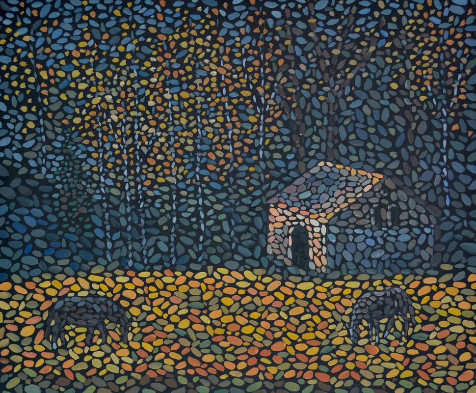 Осень в лесу картина темперой на холсте, картина художника, живопись темперой, уникальная необычная картина художник Мария Текун maryatekun.ru