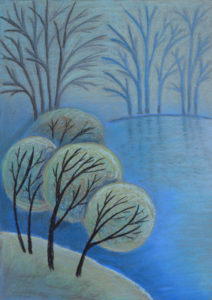 картина Первые заморозки, картон, сухая пастель, 30х40 см