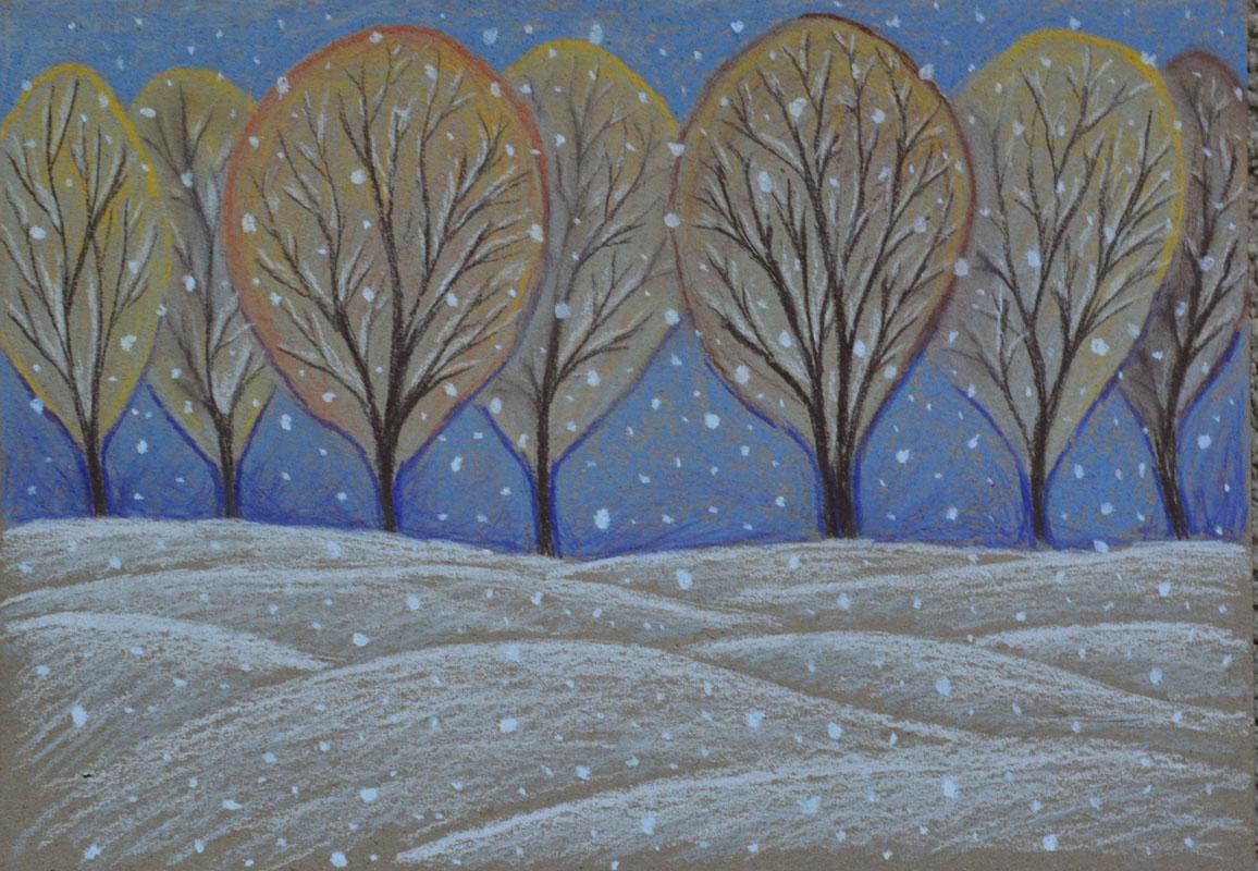 картина Первый снег, картон, сухая пастель, 30х40 см
