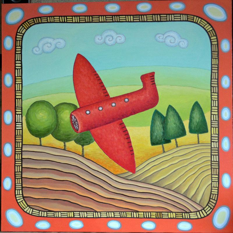 Полет картина художника, декоративная картина для интерьера, живопись, наивное искусство, необычная картина художник Мария Текун maryatekun.ru