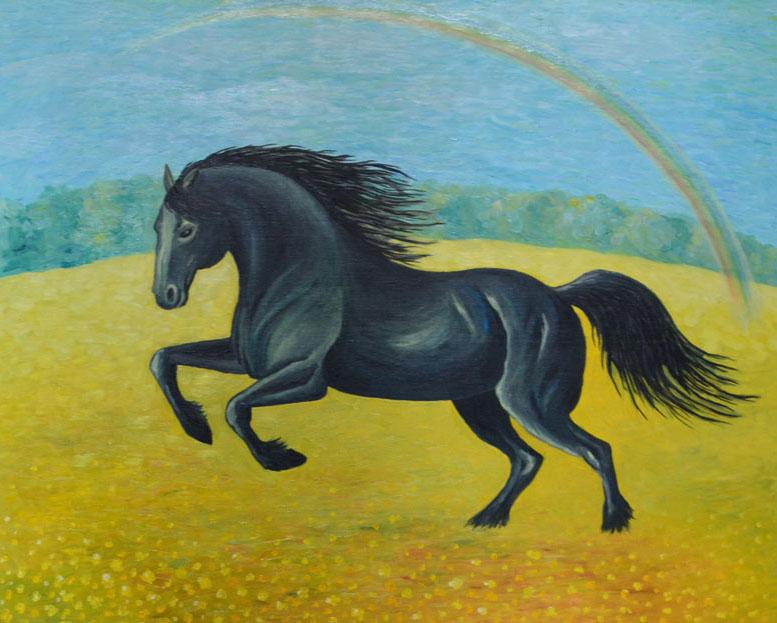 Радуга картина художника, холст, масло, 80х100 см, живопись маслом, картина животных, картина лошадь, художник Мария Текун maryatekun.ru