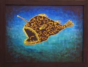картина Рыба-удильщик. Холст, акрил, 30х40 см
