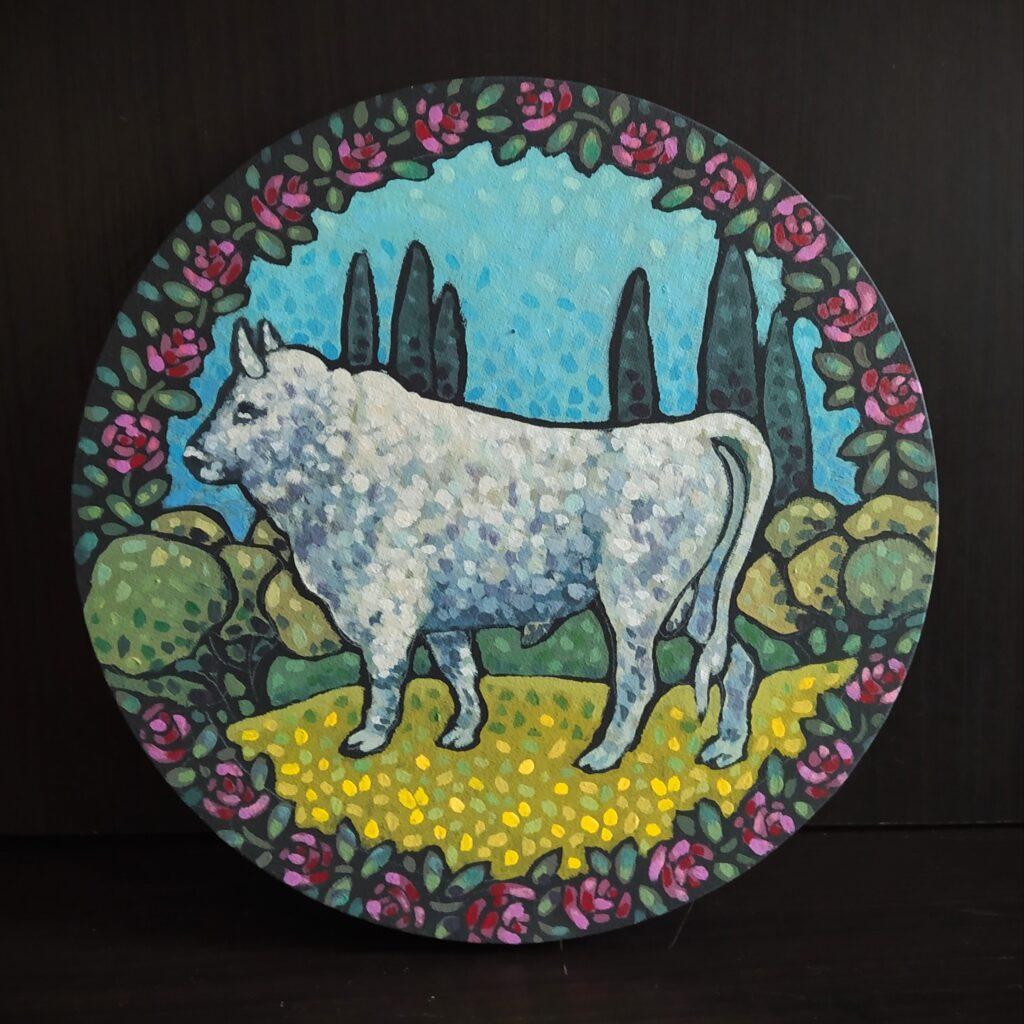Жемчужный бык Репп в саду. Картина, холст на подрамнике, темпера, диаметр 30 см, 2020 г. - Художник Мария Текун