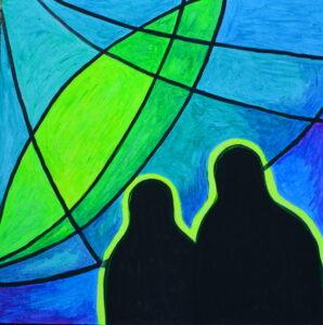 Таинственные наблюдатели. Картина, картон, флуоресцентные краски, 30х30 см - Художник Мария Текун