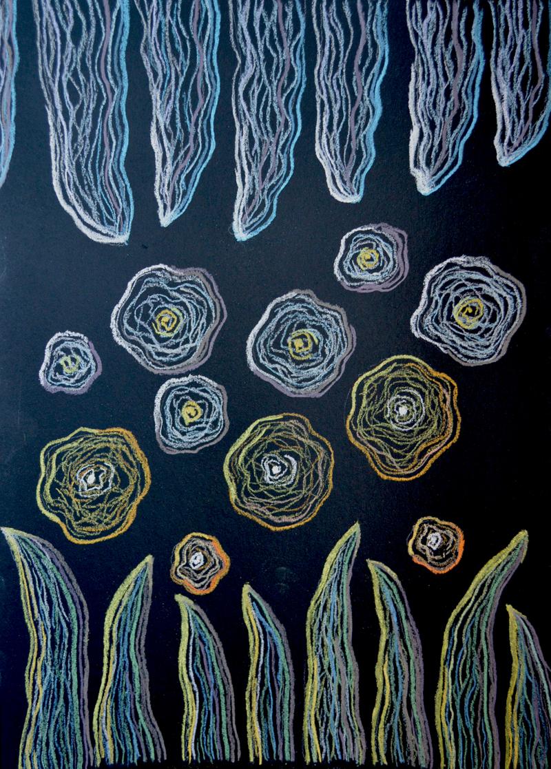 картина Цветение, явление 3, картон, сухая пастель, 30х40 см