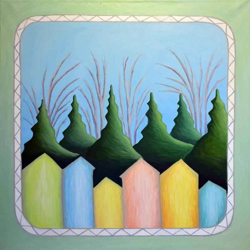 Весна картина художника, декоративная картина для интерьера, живопись, наивное искусство, картина весны, необычная картина весна, картина пейзаж, художник Мария Текун maryatekun.ru