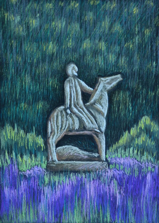 картина Всадник, картон, сухая пастель, 30х40 см