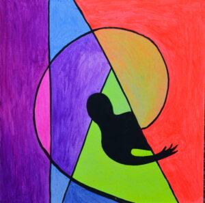 За стеной. Картина, картон, флуоресцентные краски, 30х30 см - Художник Мария Текун