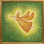 Я играю на трубе. Картина, холст, акрил, смешанная техника, 50х50 см - Художник Мария Текун