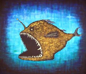 картина Рыба-черт. Холст, акрил, смешанная техника, 60х70 см
