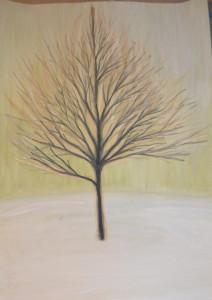 картина Дерево первое, гуашь, уголь, сангина, 30х40 см