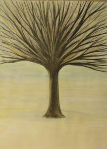 картина Дерево третье, гуашь, уголь, сангина, 30х40 см