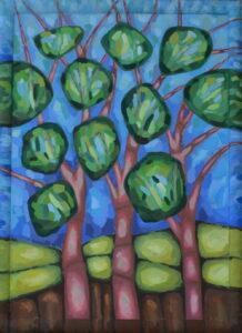 Летний лес. Картина, холст, темпера, 60х80 см, багет, 2017 г. - Художник Мария Текун