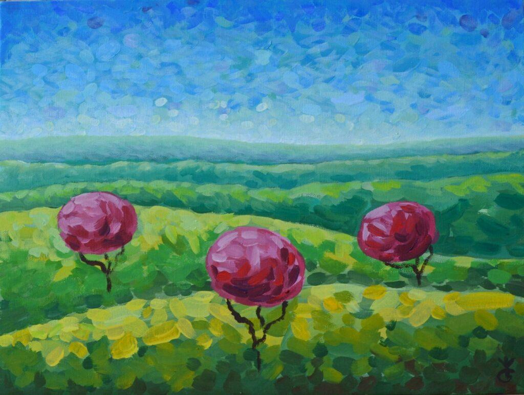 Утро в полях картина темперой на холсте, картина художника, живопись темперой, уникальная необычная картина художник Мария Текун maryatekun.ru