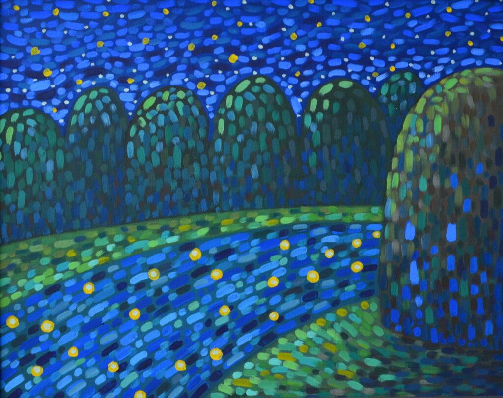 Звезды в реке 2 картина темперой на холсте, картина художника, живопись темперой, уникальная необычная картина художник Мария Текун maryatekun.ru