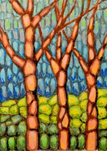 картина Лес, картон, масляная пастель, 30х40 см