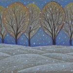 Первый снег. Картина, картон, сухая пастель, 30х40 см - Художник Мария Текун