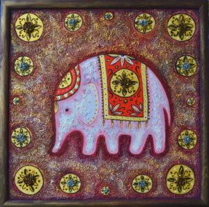 Розовый слоник. Картина, смешанная техника, масло, 50х50 см, багет - Художник Мария Текун
