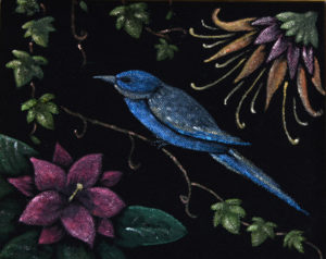 картина Синяя птичка. Бархат, темпера, 20х30 см